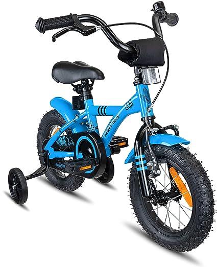 Prometheus Bicicleta Infantil | 12 Pulgadas | niño y niña | Azul Negro | A Partir