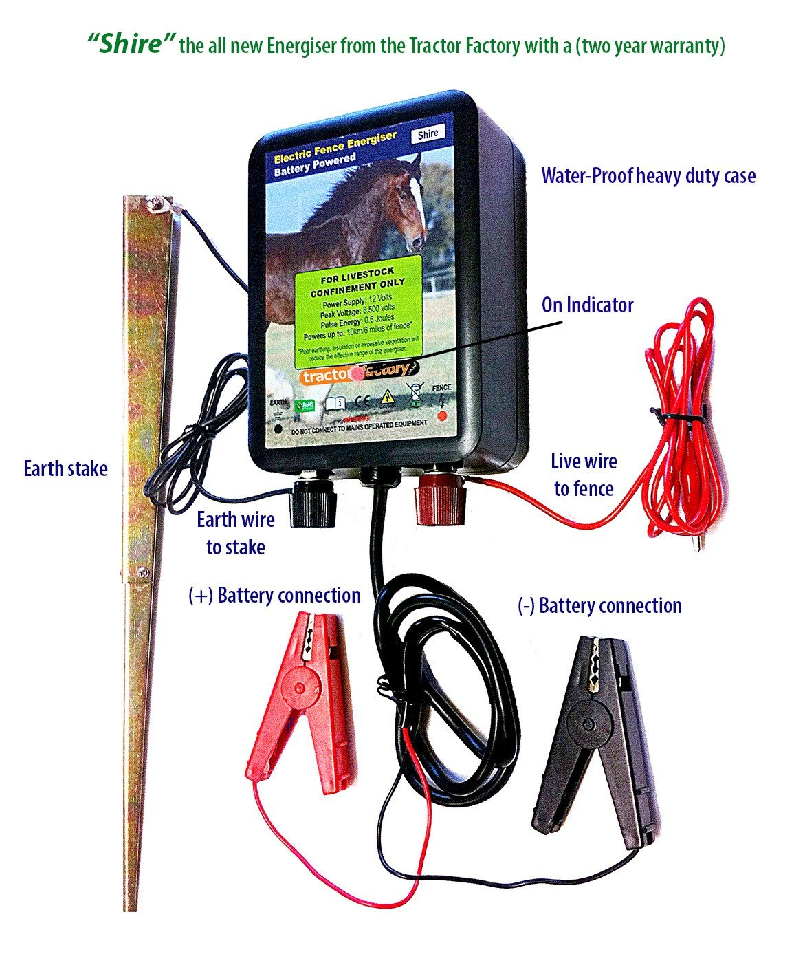 electric fence energiser shire 0 6joules 12v battery water proof 6 rh amazon co uk Electric Fence Installation Diagram 4 Plank Fence Diagram