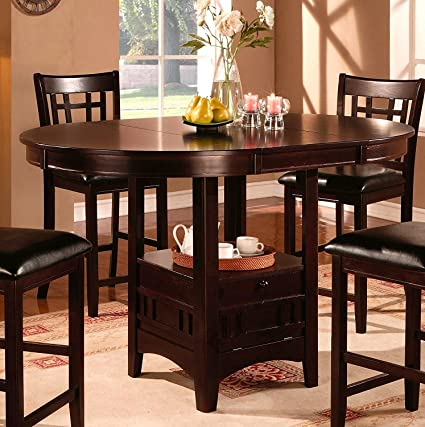Amazoncom Cappuccino Dining Table Counter Height Oval Shaped - Expandable counter height dining table