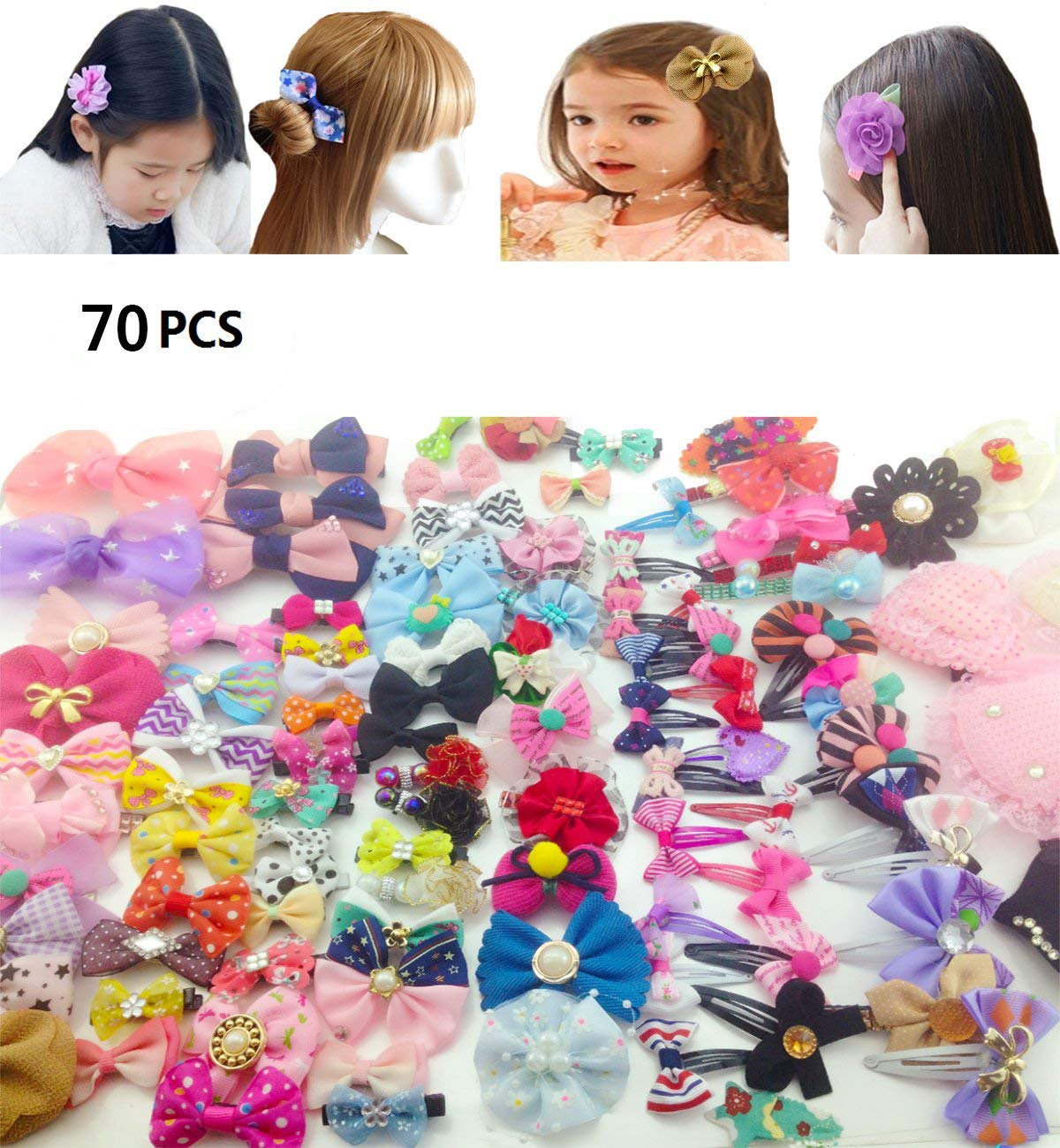 70Pack Sc0nni Hair Clips Barrettes with Bows Designed For Baby, Toddler, and Young Girls-Variety Styles