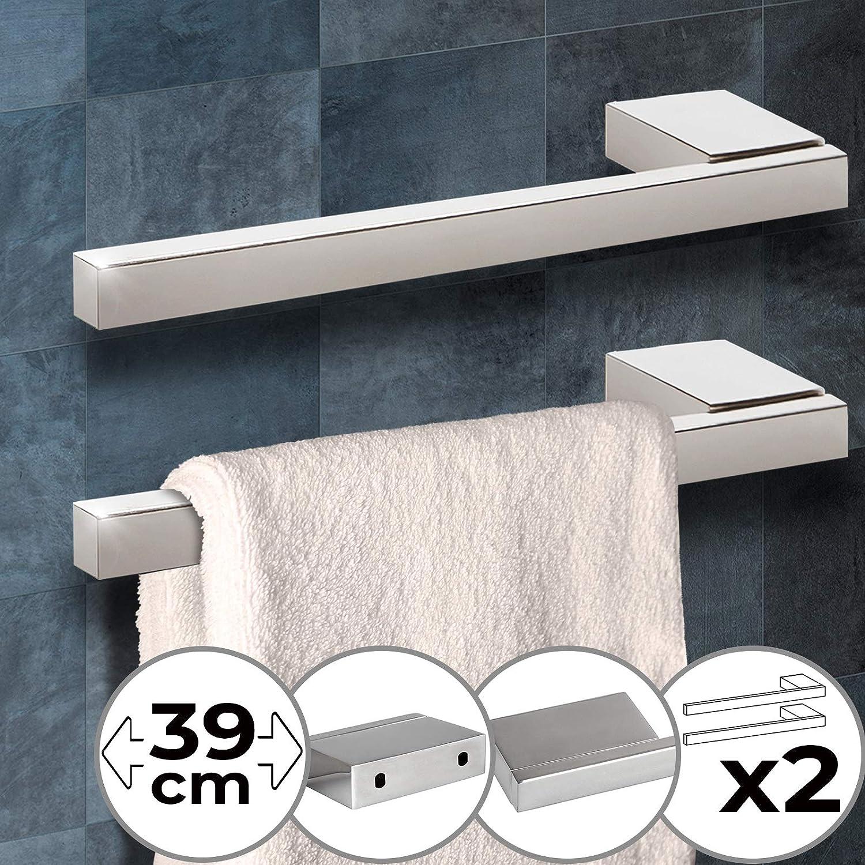 Porta Salviette da Bagno Argento in Acciaio Lucido 1 o 2 pezzi Portasciugamani da Parete Stabile Barra Asciugamano 39x5.5x2cm