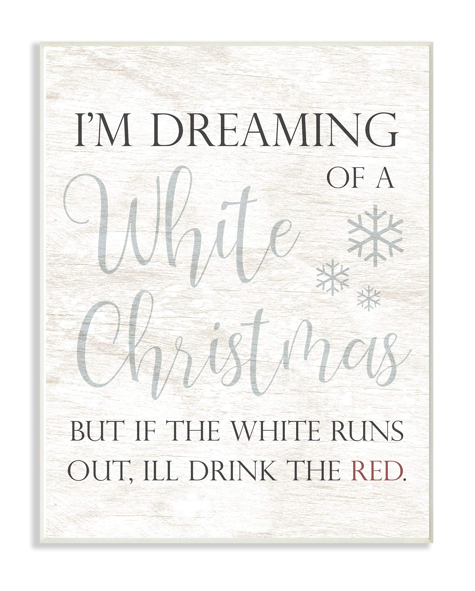 The Stupell Home Décor Collection Holiday White Christmas Drink Red Funny Script Typography Wall Plaque Art, Multi-Color