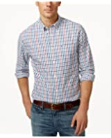 Tommy Hilfiger Mens Pacific Plaid Button-Down Shirt, Snow White, X-Small
