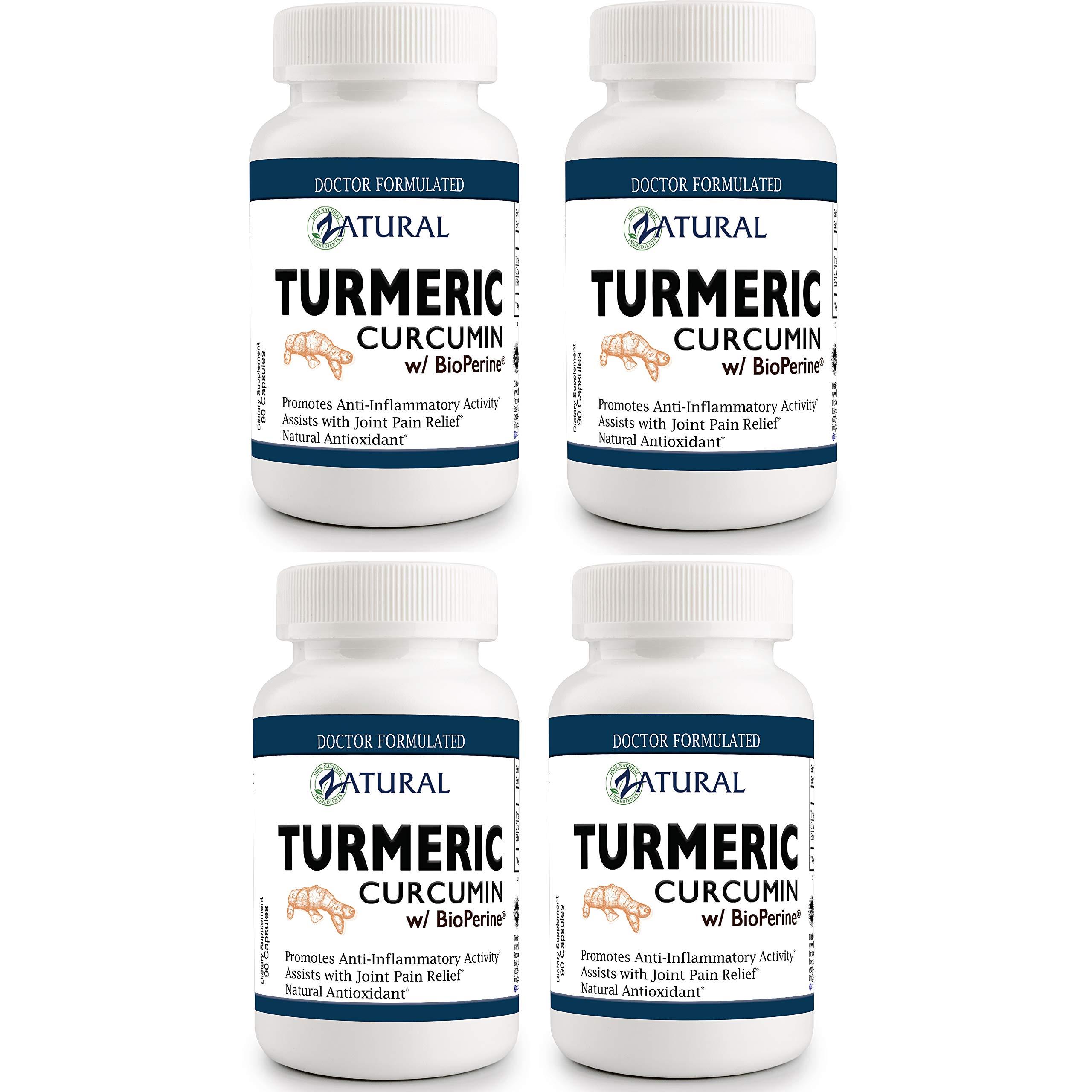 Best Turmeric Curcumin w/Bioperine. UltraPure- Highest Quality Buy 3 Get One Free - 360 Count by Zatural
