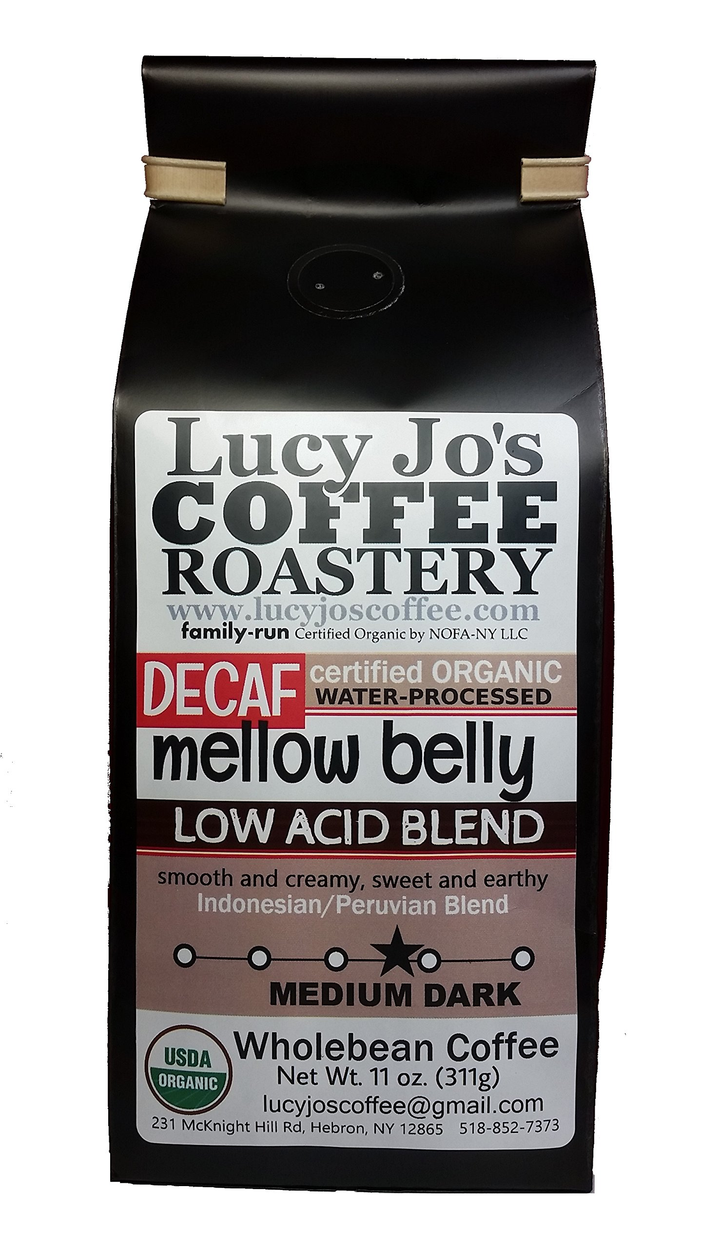Lucy Jo's Coffee, Organic DECAF Mellow Belly Low Acid Blend, Whole Bean 11 oz