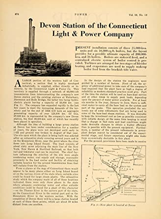 1924 Article Devon Station Connecticut Light Power   Original Print Article