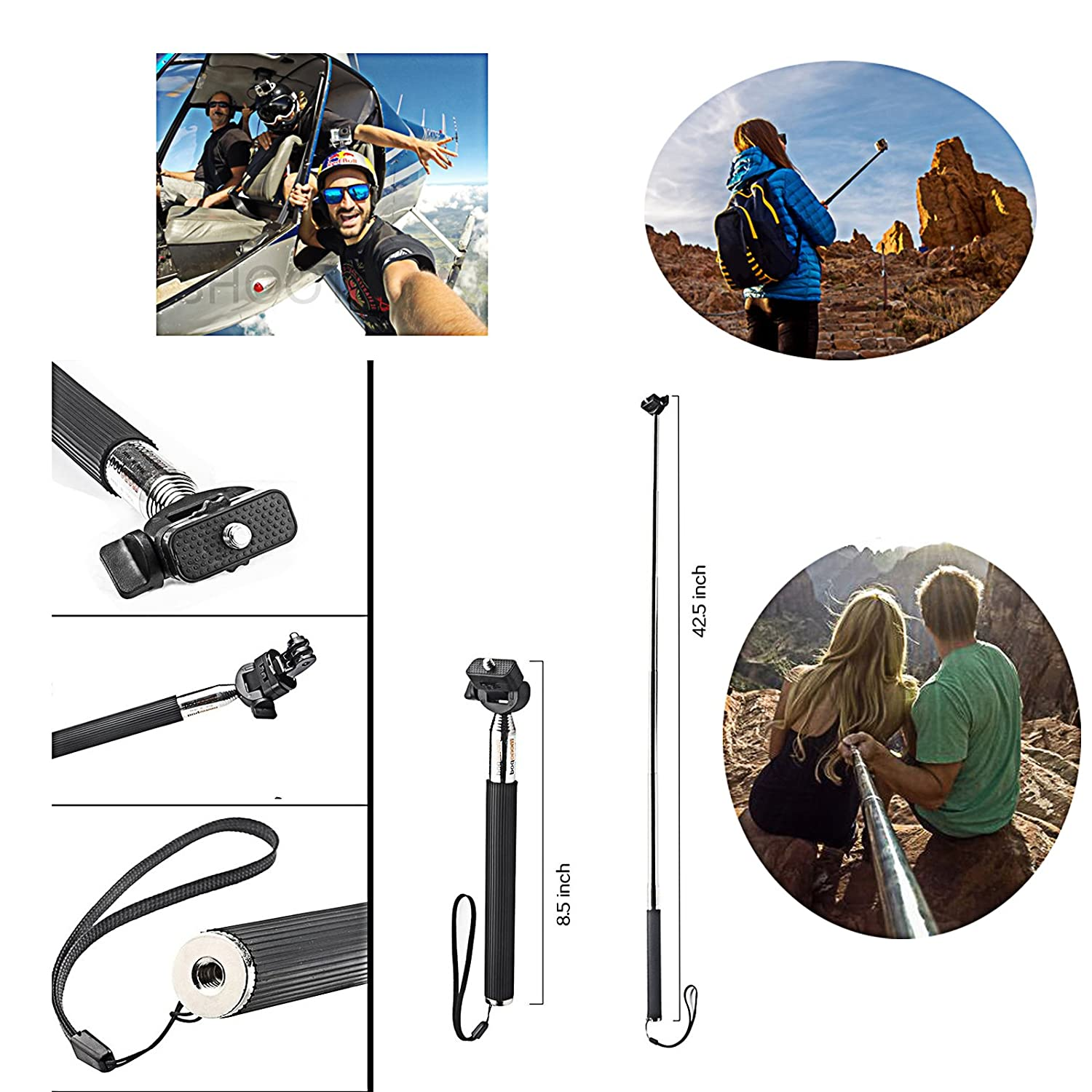 2018 SHOOT 49in1 Accessories Kit with 42.5inch Monopod for GoPro Hero 8 HERO7 Black Silver White//6//5//4//3+//3//5 Session//Hero Waterproof Case,Head Strap //Fusion OSMO Action Camera