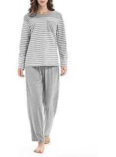 Genuwin Cotton Pajamas for Women Long Sleeve Sleepwear Set Loungewear PJ Set  S~XL e664f9415
