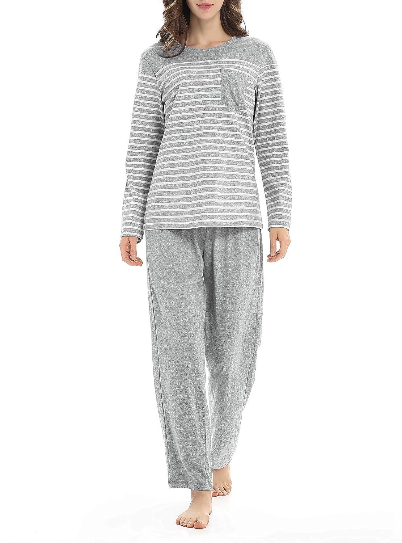2 Hosen oder 1 Set Genuwin Damen Lange Schlafanzughose mit Seitentaschen oder Zweiteiliger Schlafanzug Pyjama Set aus Baumwolle Nachtw/äsche f/ür Frauen