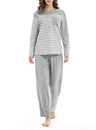 e1d39d0842 Genuwin Cotton Pajamas for Women Long Sleeve Sleepwear Set Loungewear PJ  Set S~XL (