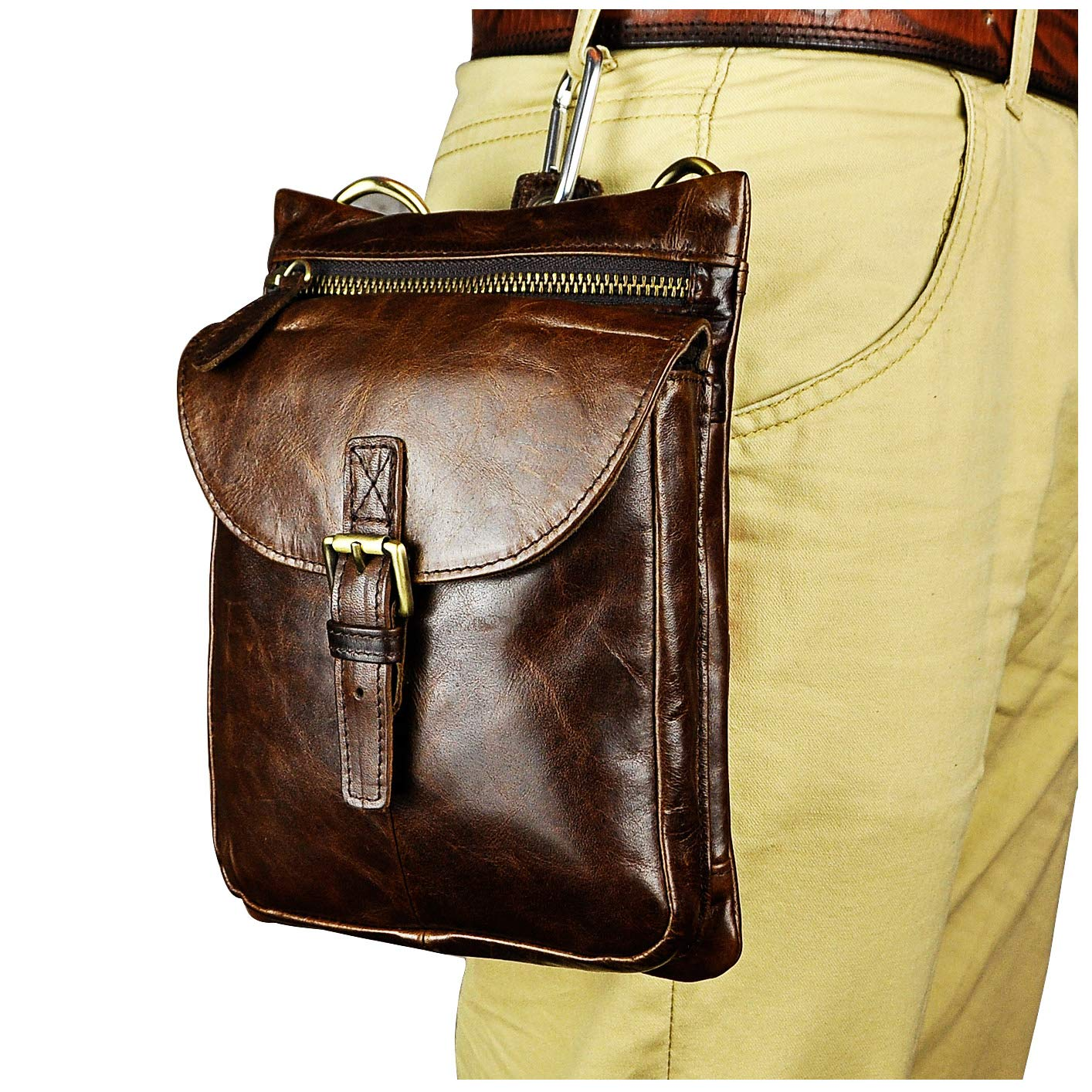 Leaokuu Men Genuine Leather Small Hook Messenger Shoulder Satchel Fanny Belt Waist Bag Pack 6552 6552 B-Dark Brown 2