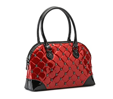 Rock Rebel Lucy Quilted Handbag with Spiders (Glitter Red)  Handbags   Amazon.com b477b58cb8
