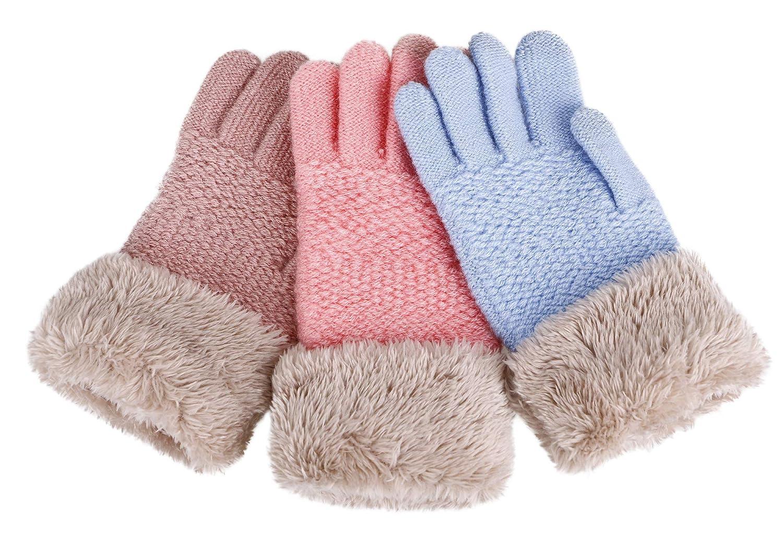Halconia 2//3 Pack Kids Touchscreen Winter Knit Gloves w//Faux Fur Cuff