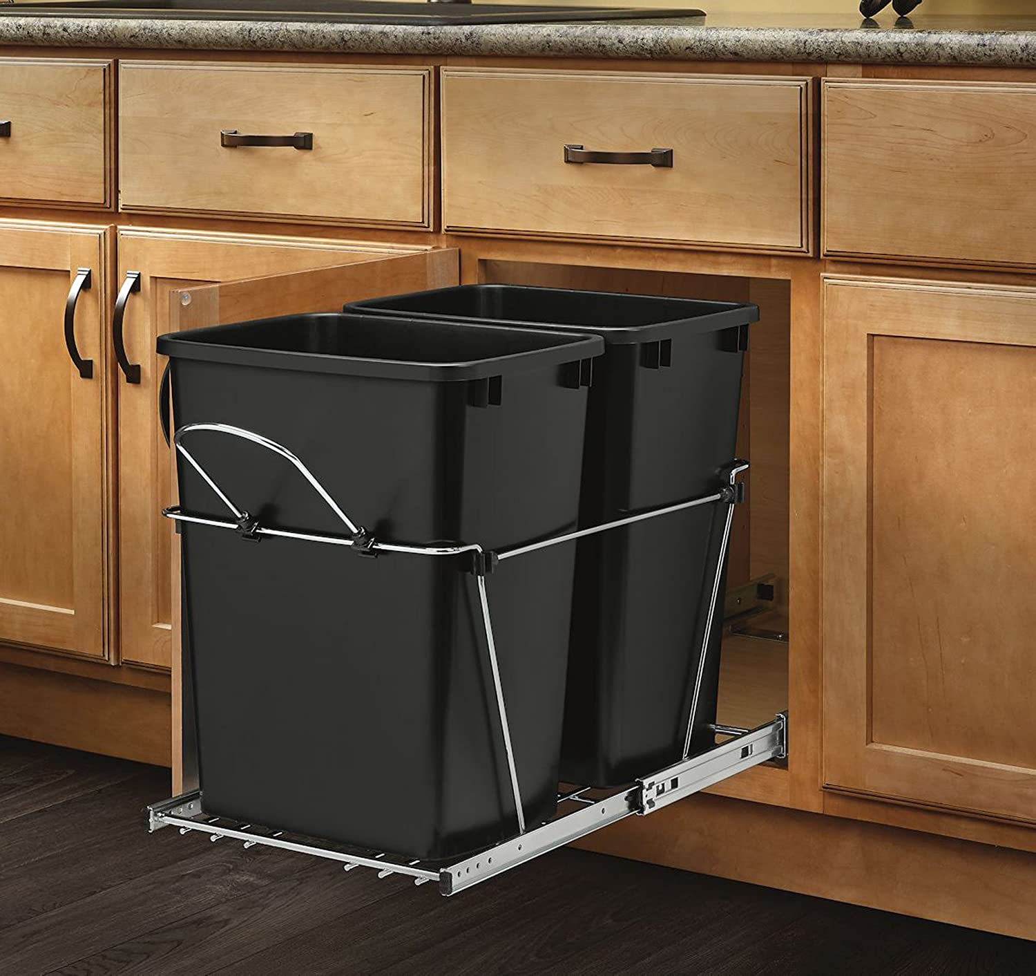Kitchen Garbage Can Cabinet: 35QT Under Cabinet Pull Out Trash Can 2 Bin Undersink