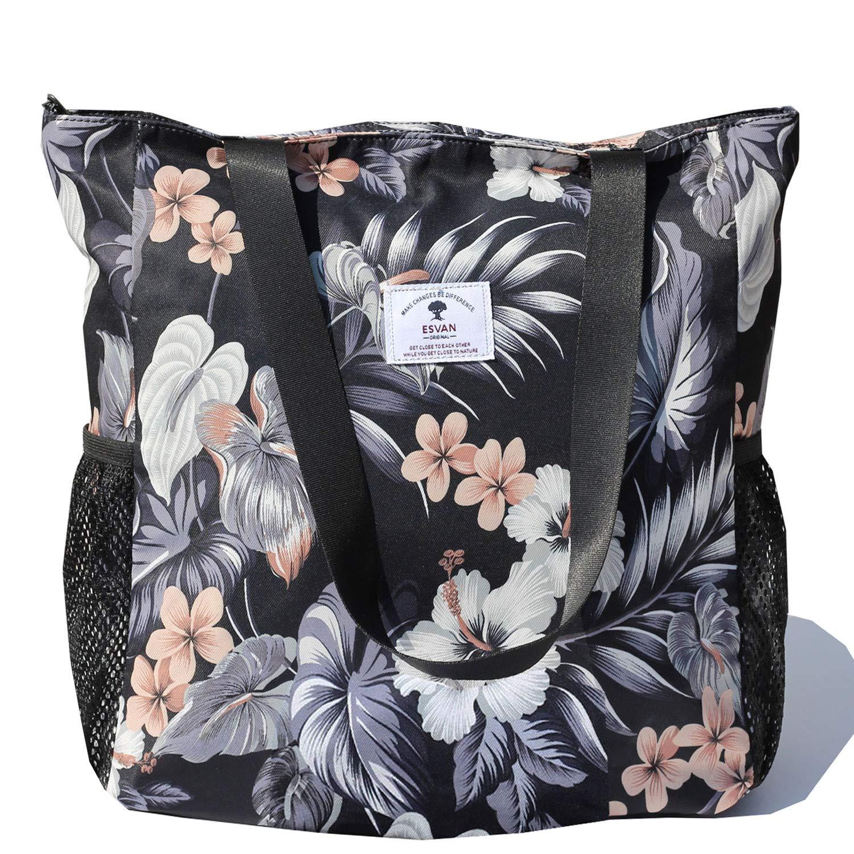 Original Floral Water Resistant Large Tote Bag Shoulder Bag for Gym Beach Travel Daily Bags Upgraded ([G] Floral Leaf) by ESVAN