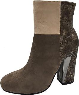 Women's Patchwork Color Block Lucite Heel Ankle Bootie