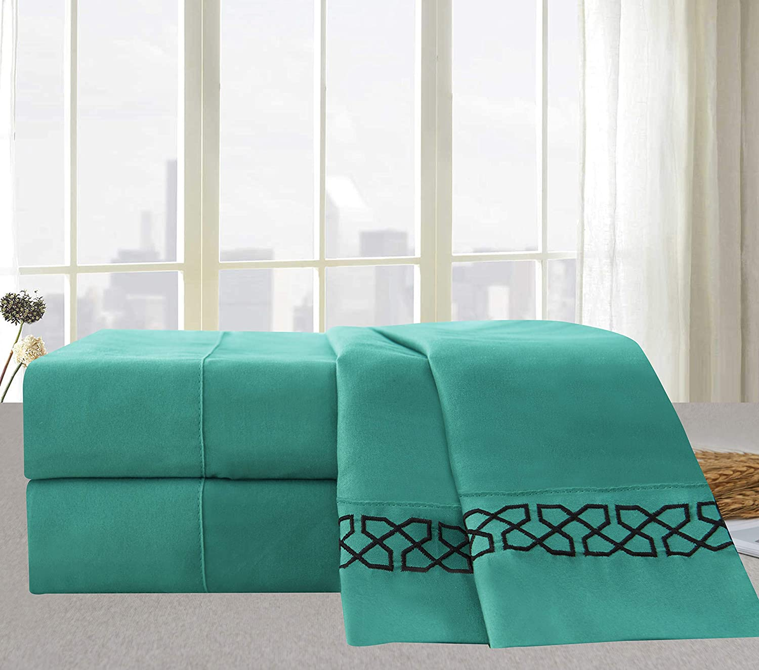 Elegant Comfort  Avery Collection 4-Piece Bed Sheet /& Pillowcase Set Wrinkle and Fade Resistant Full Turquoise Elegant Comfort TM 89RW Avery-Sheets-Full Turquoise Soft Double Brushed Microfiber 100/% Hypoallergenic