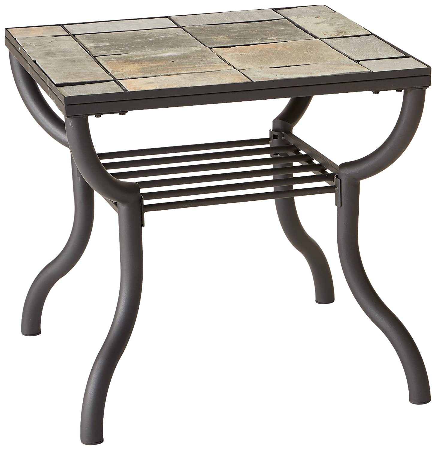 Ashley Furniture Signature Design - Antigo Chair Side End Table - Contemporary - Slate Top with Metal Bottom - Black T233-7 M305443