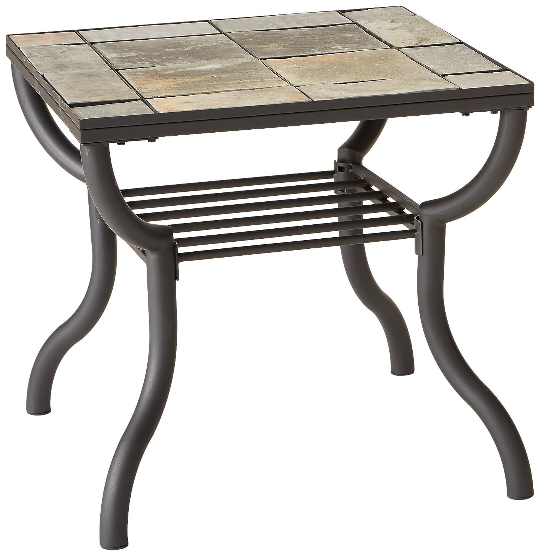 Amazon com ashley furniture signature design antigo living room end table slated top with metal bottom contemporary black kitchen dining