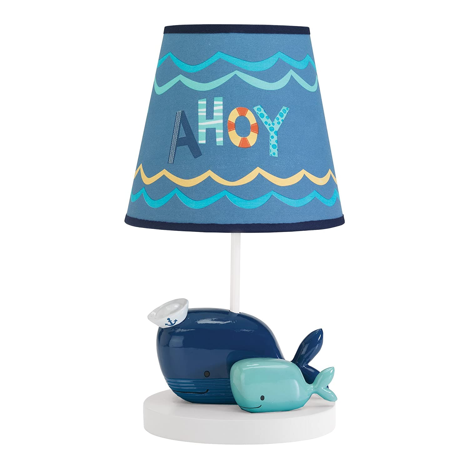 Lambs & Ivy Ahoy Blue Whale Lamp with Shade and Bulb