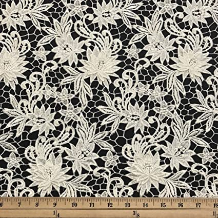 Amazoncom Magnolia Guipure Corded French Lace Embroidery Fabric 52