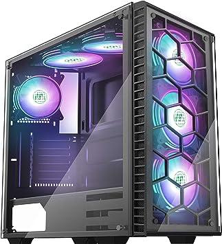 MUSETEX - Caja ATX para torre de videojuegos, 2 paneles de cristal templado translúcido, puerto USB 3.0 con 6 ventiladores LED MVp120 Plus RGB preinstalados 903, color negro: Amazon.es: Electrónica