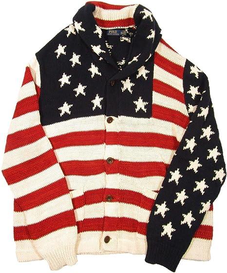 Women/'s Ralph Lauren Polo USA American Flag Cotton Linen Cardigan Sweater New