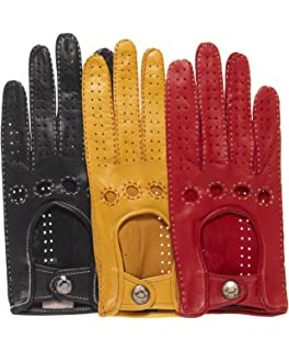 169e58dcd Fratelli Orsini Women's Italian Leather Driving Gloves with Contrast  Stitching