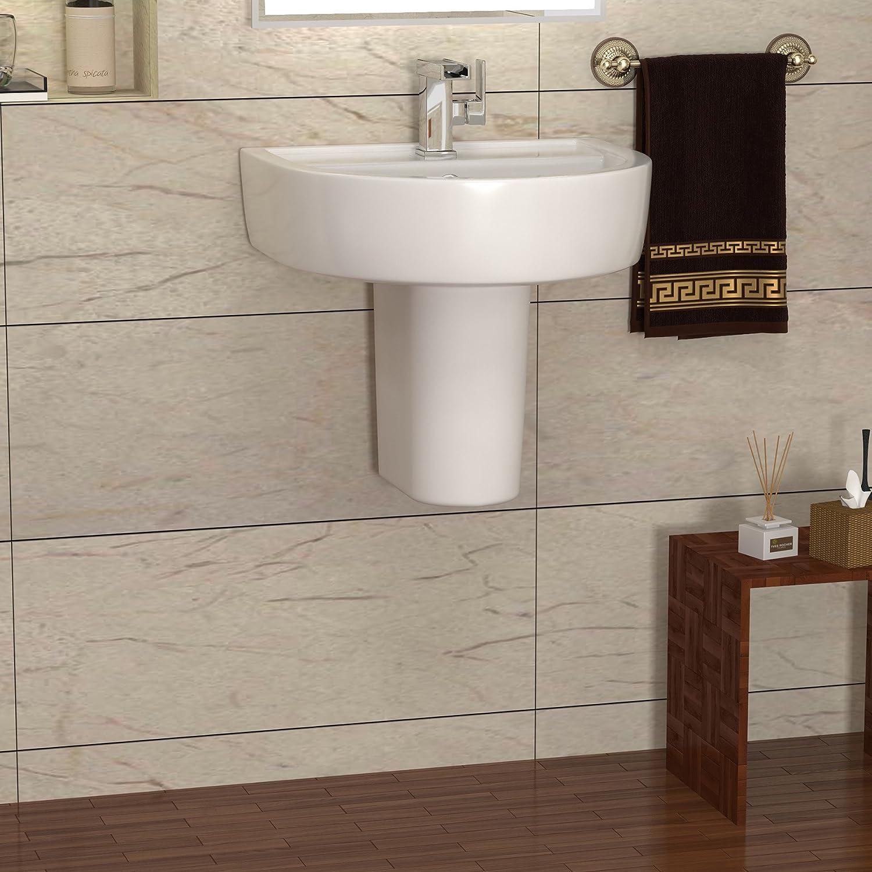 Modern Bathroom Provost 520 x 455mm (W x H) Ceramic 1TH Basin Sink with Semi Pedestal - Gloss White Finish Premier