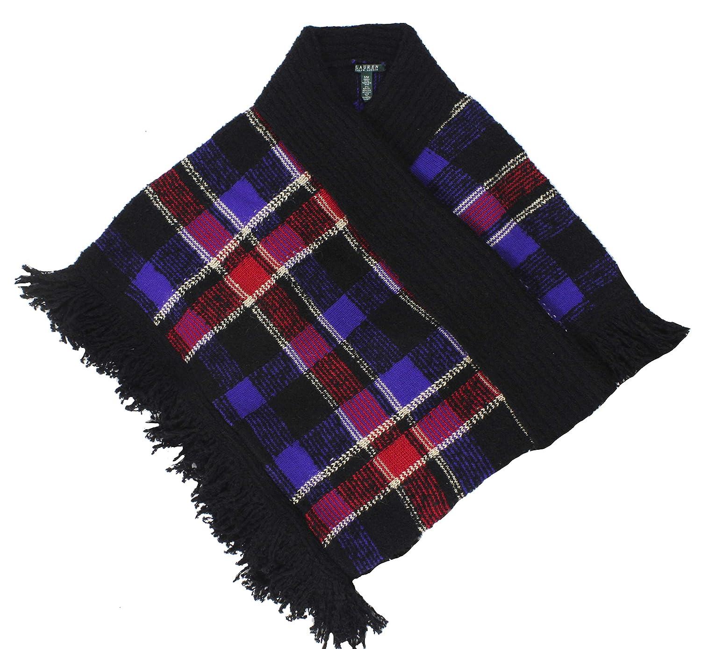 Lauren Ralph Lauren Womens Open Front Fringe Poncho Sweater Black S/M 200588507001
