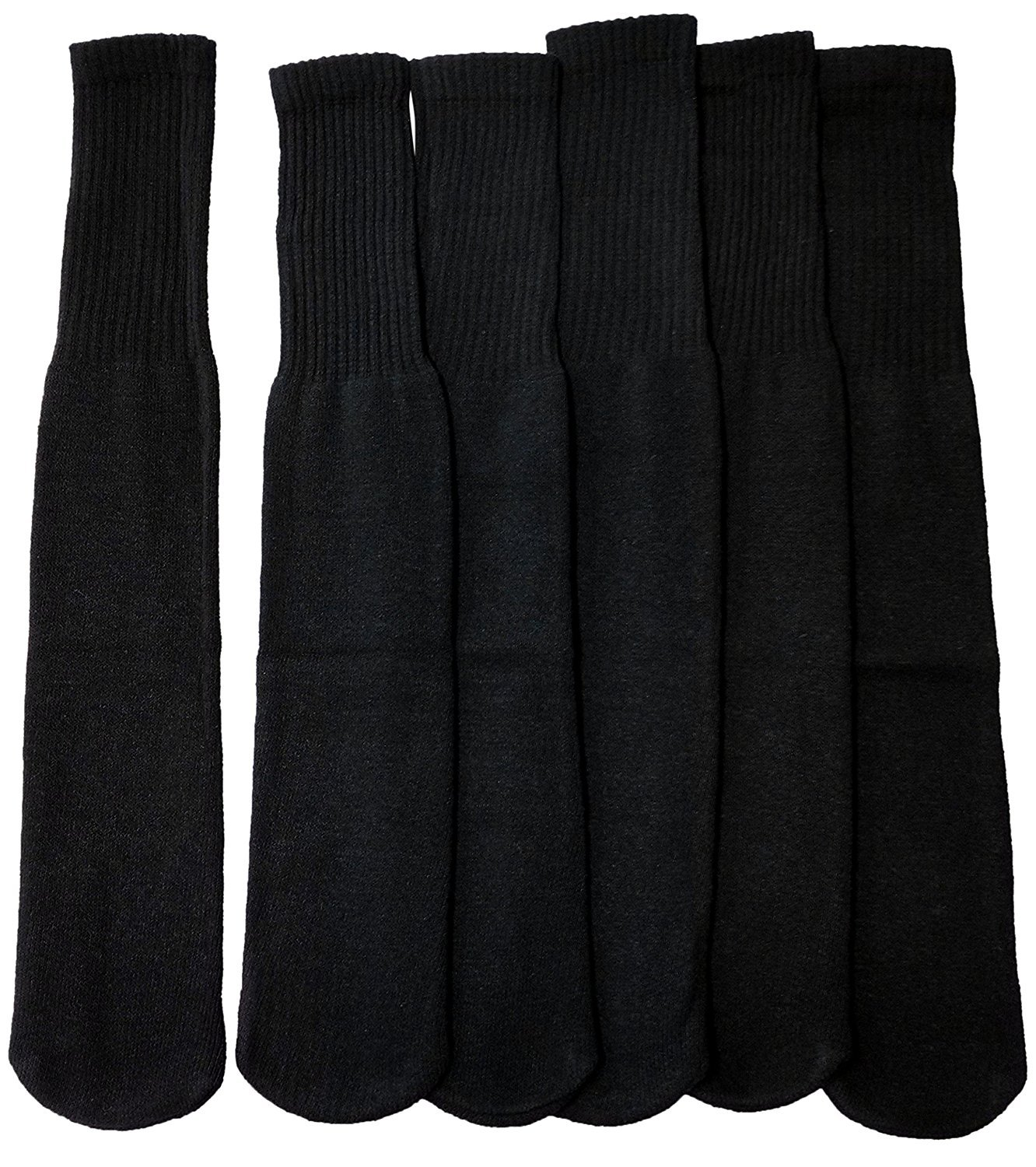 6 Pairs of excell Children's Cotton Tube Socks, Black, Unisex, Size 6-8 684-6-8-B