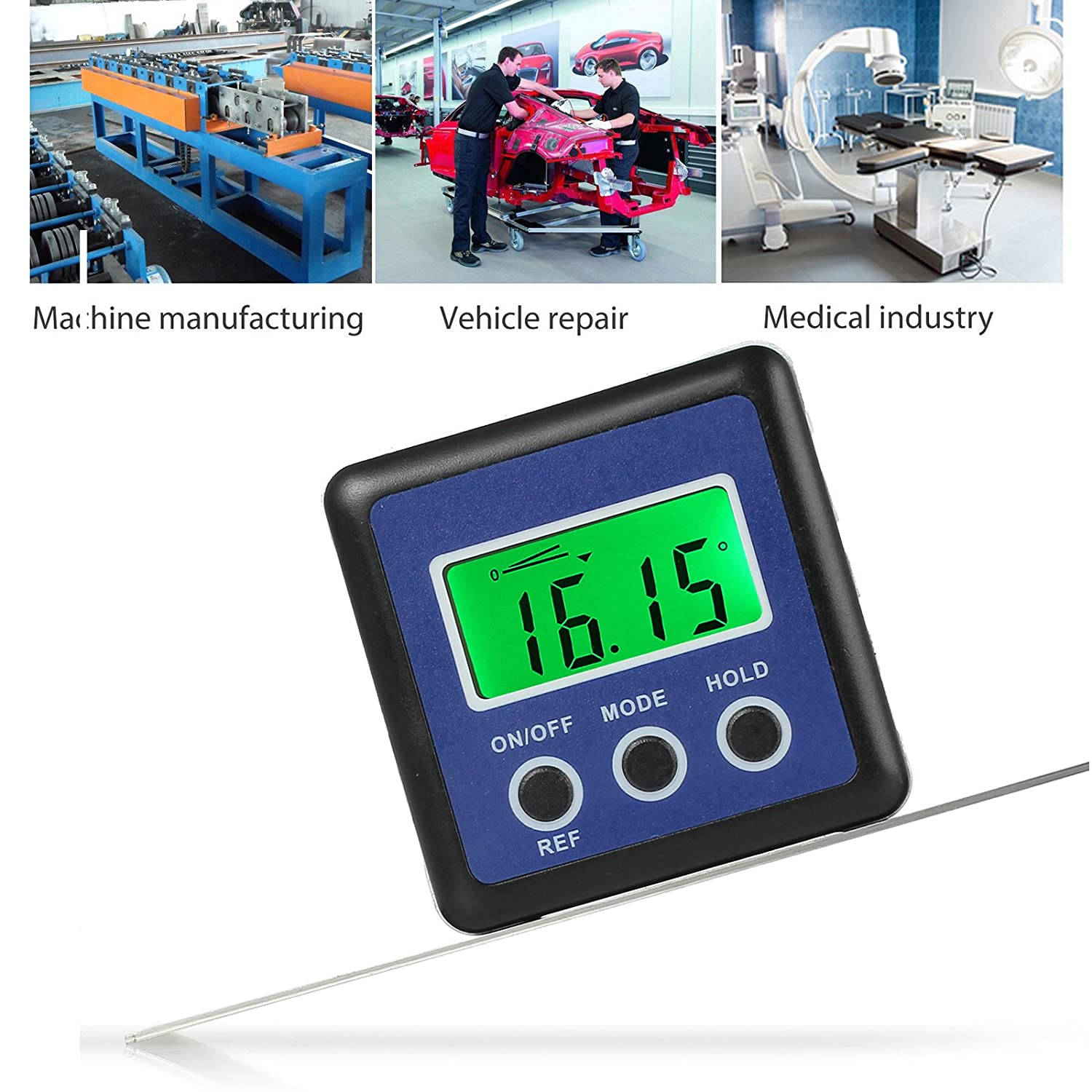 AUTOUTLET Digital Angle Level Gauge Protractor Inclinometer Angle Finder Bevel Box Magnetic Base 0-360° 4 Units °,%, IN/FT, mm/m Pitch Helicopter, Bevel Angle Miter Saw, Repair etc