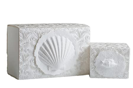 The Favorite Place Burial Urn Box, Small Shell Box , Biodegradable for Ground Burial, Scattering Cremated Ashes in Earth Friendly Eco Urn, Small, Metallic White Swirl
