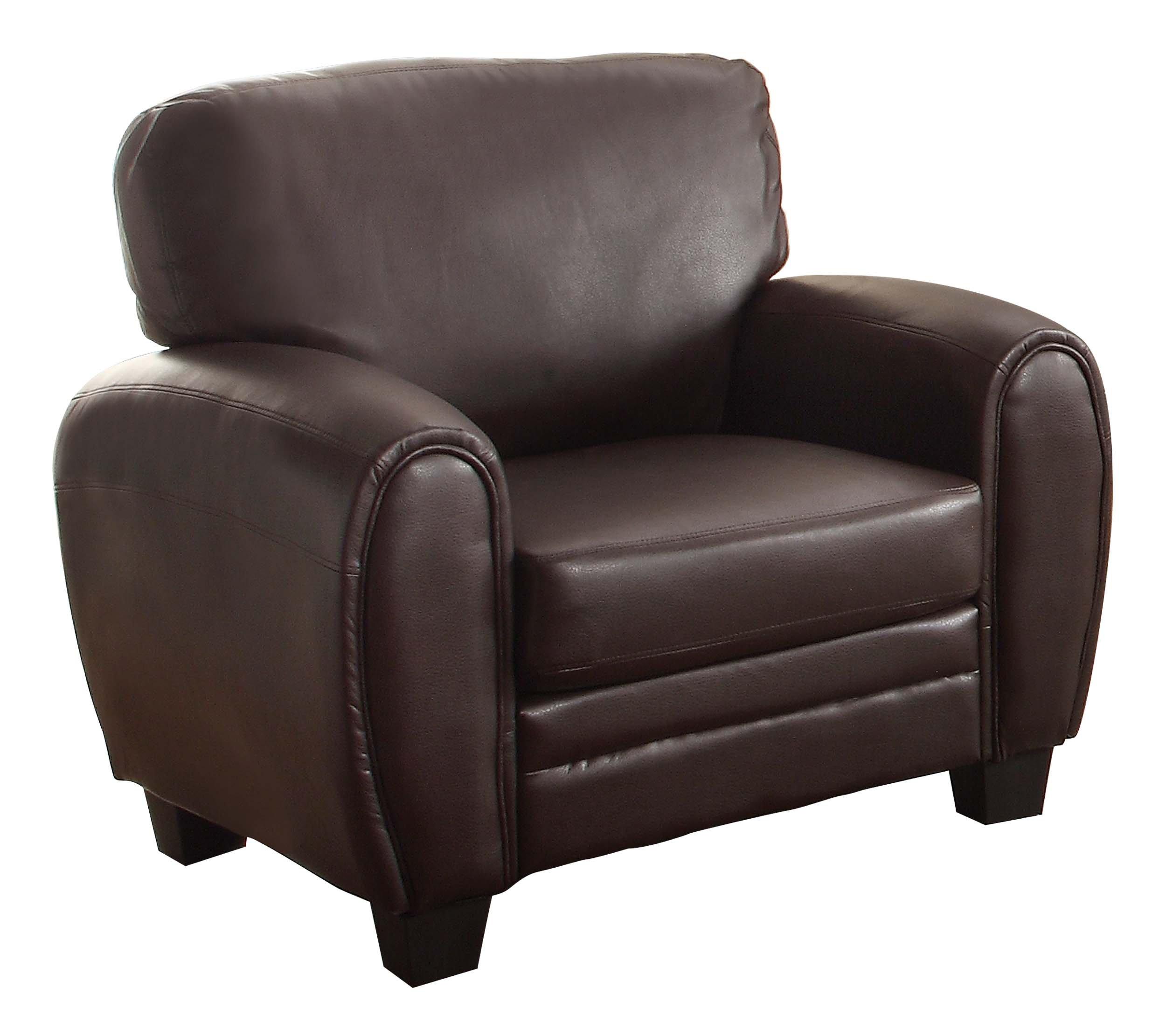 Homelegance 9734DB-1 Upholstered Chair, Dark Brown Bonded Leather Match