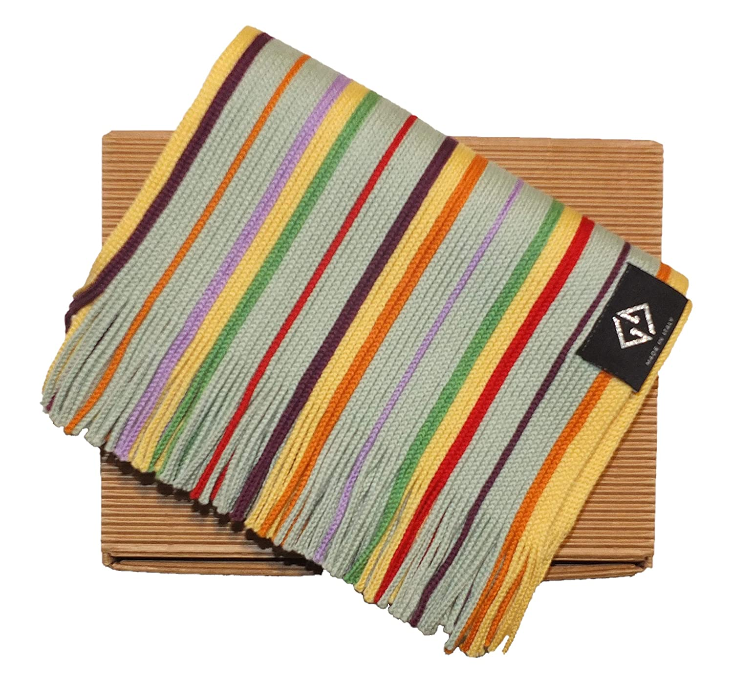 140cm MADE IN ITALY 100/% MERINOS WOOL 20cm Scarf child vertical striped article with fringe