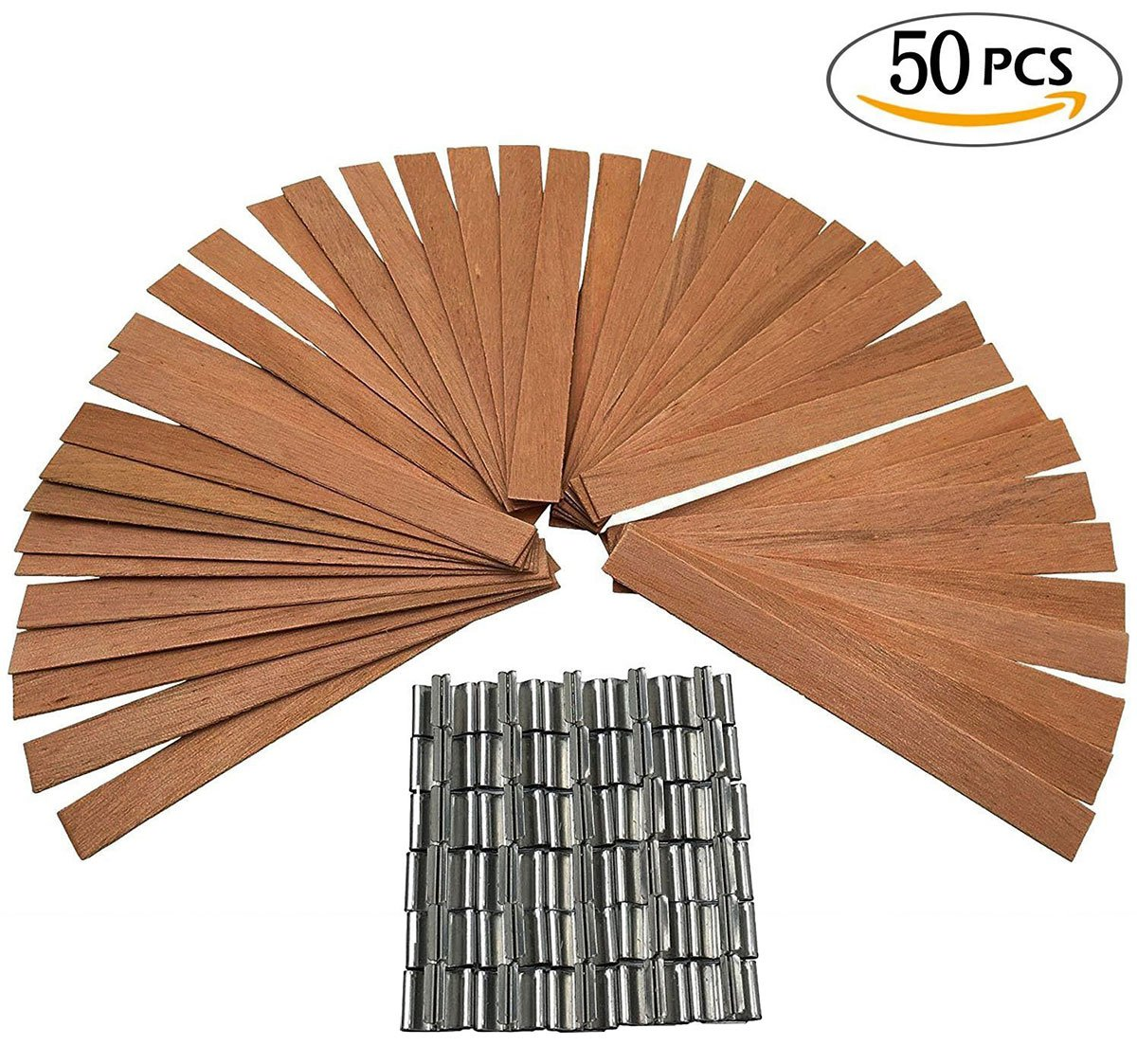 JoinPro 50 Pieces Wood Candle Wicks Low Somke Core with 50 Sustainers Tabs for Candle Making and DIY Crafts (3x0.5 inches)