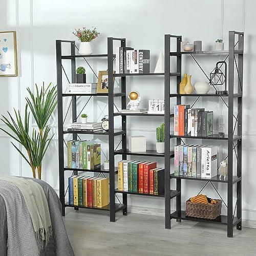 Sedeta Triple Wide 5-Shelf Bookcases