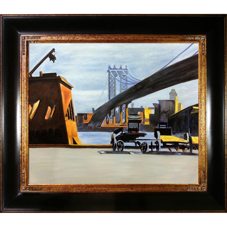 overstockArt La Pastiche Manhattan Bridge 1926 by Hopper Artwork with Opulent Frame