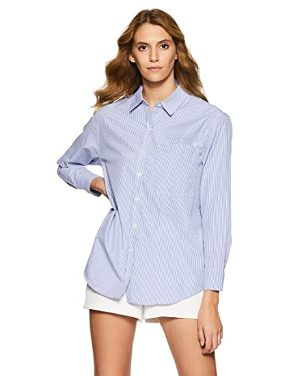 c058c5cdde Forever 21 Women s Striped Slim Fit Shirt  Amazon.in  Clothing   Accessories