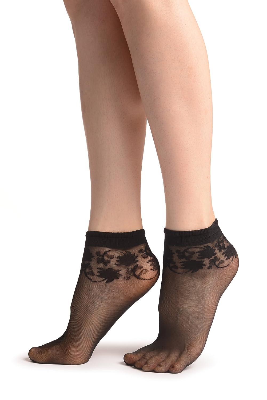 LissKiss Black With Wine Leaves Socks Ankle High 37-42 Nero Calzini Taglia Unica