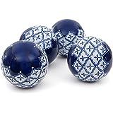 "Oriental Furniture 4"" Blue & White Medallions Porcelain Ball Set"