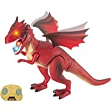 Dino Planet Remote Control Fire Dragon R/C Walking Dragon Toy with Shaking Head, Light Up Eyes and Sounds