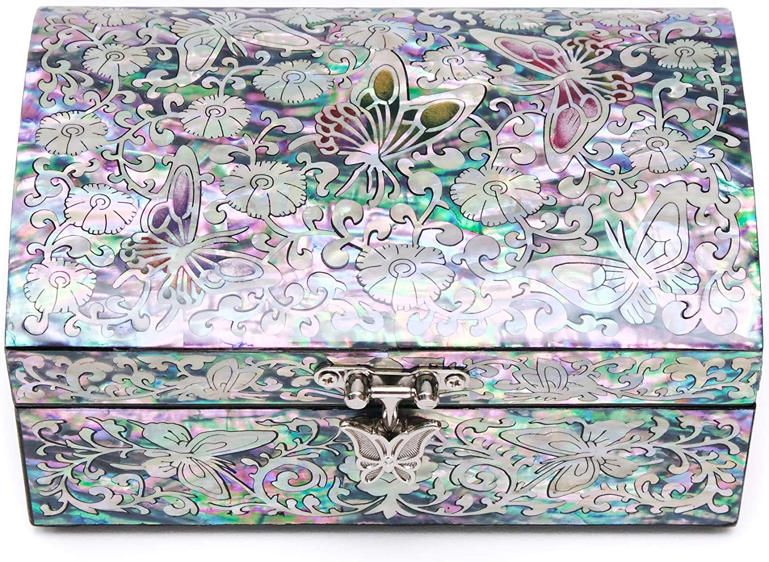 MADDesign Mother of Pearl Jewelry Trinket Box Sea Shell Inlaid Mirror Lid Pink Floral Butterfly Design