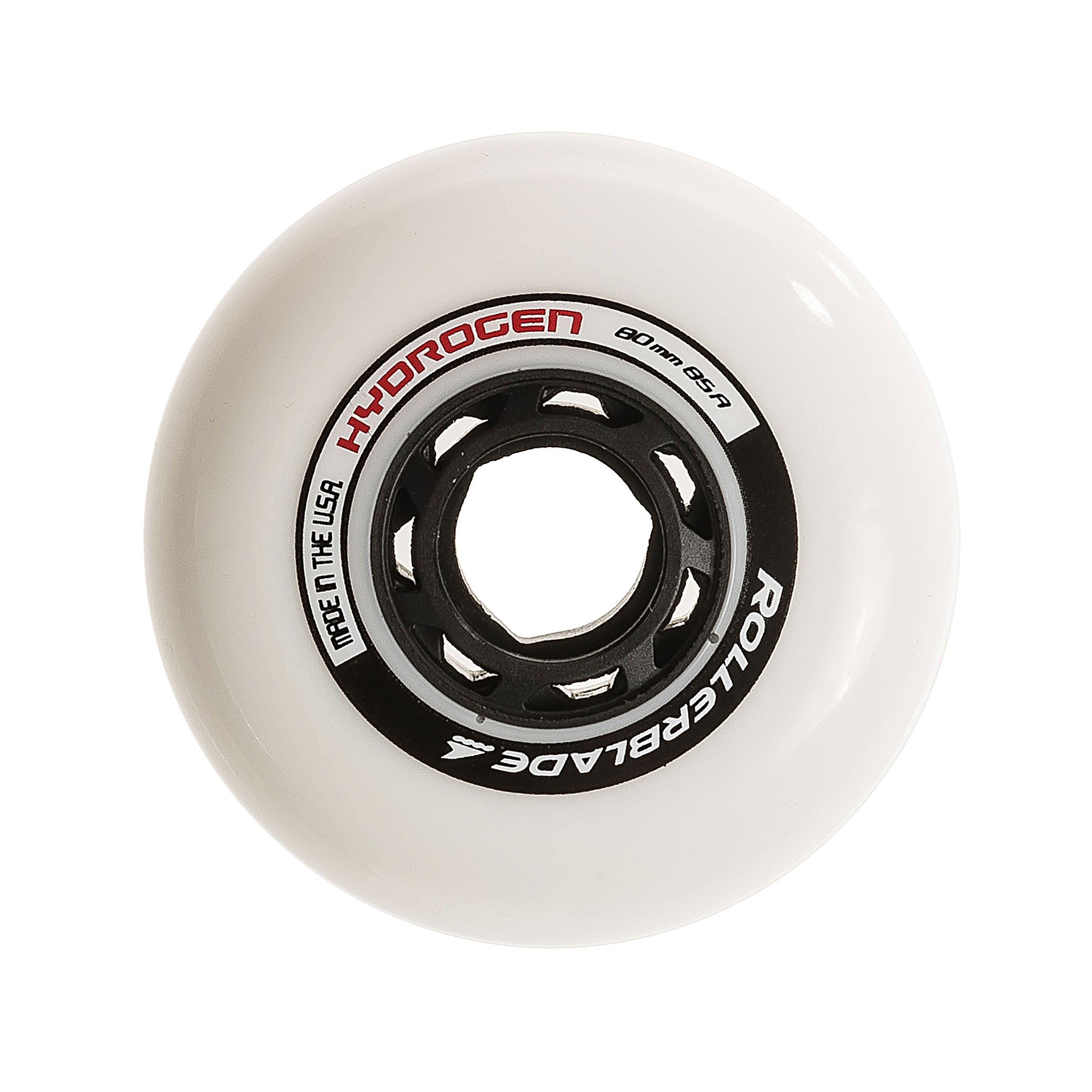 Rollerblade Hydrogen 80mm 85A Wheels (8 Pack), White, One Size by Rollerblade
