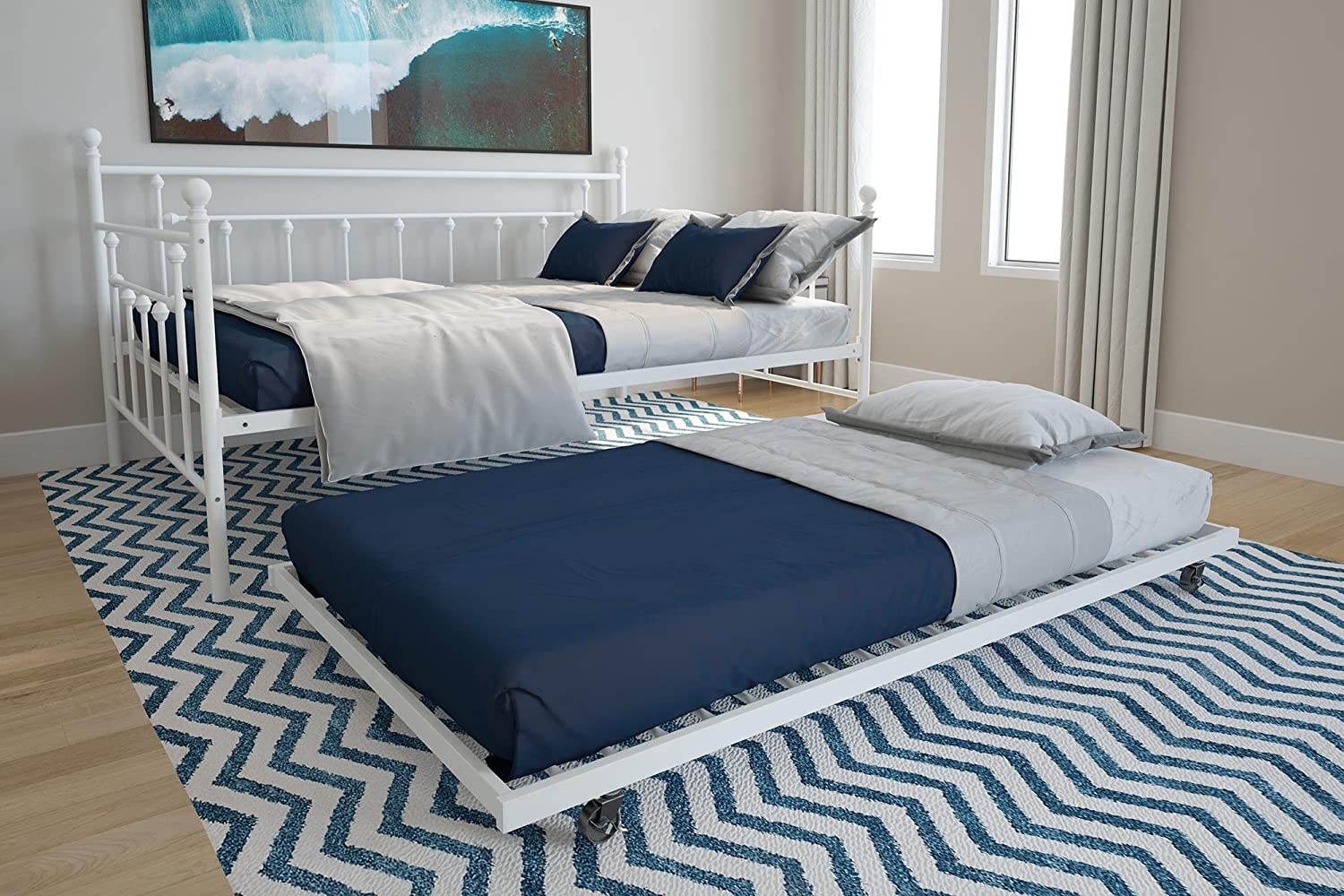 DHP Manila Metal Full Size Daybed and Twin Size Trundle