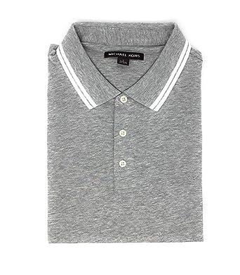 28fbf553a3272f Michael Kors Mens Pima Soft Touch Classic Fit Polo Shirt Short Sleeve Pique  (Grey/