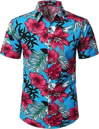 JOGAL - Camisa hawaiana para hombre, diseño de flores: Amazon.es: Ropa y accesorios