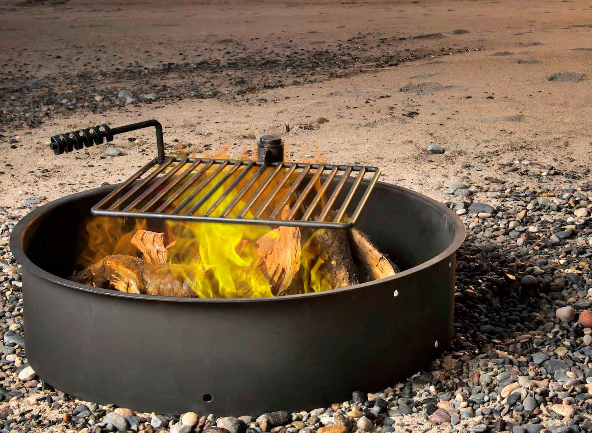 36'' Steel Fire Ring with Cooking Grate Campfire Pit Park Grill BBQ Camping Trail by Titan Outdoors (Image #3)