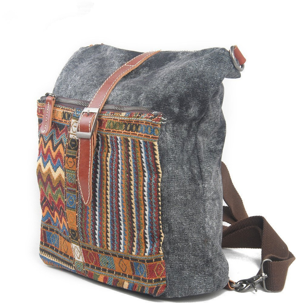 New, retro, trend, ethnic style, canvas bag, backpack, B0038