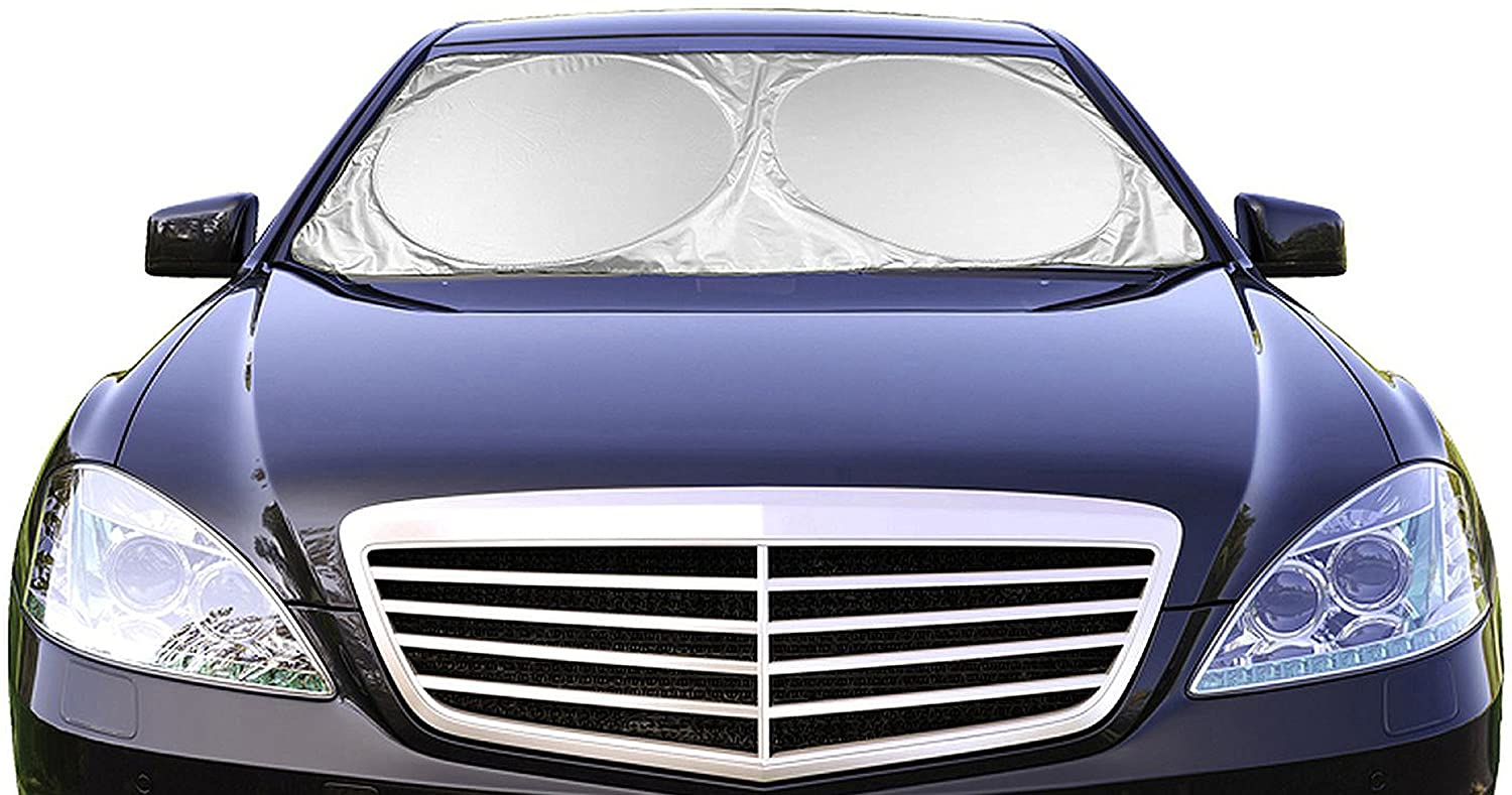 "Car Windshield Sunshade (59"" x 31.5"") UV Protector Shields Auto & Keeps Vehicle Cooler - Easy to Use Pop Up Car Sun Shade for Standard Size Front Windshields"
